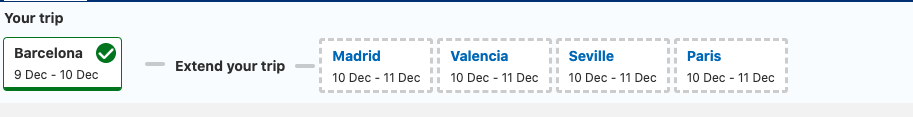 Example of how Booking.com suggests the next destination and encourages guests to book hotels in the suggested destination