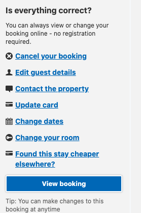 Example of Booking.com message with cancelation/modification of the reservation buttons to improve user platform experience