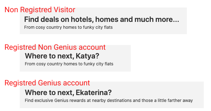 Examples of three welcoming messages from booking.com, personalized to visitors profile