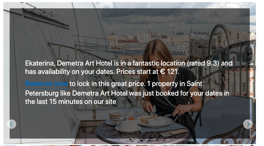 Examples of hotel photo summary by booking.com personalized depending on the guest profile