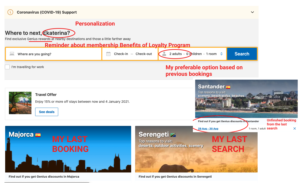 Examples of booking.com website personalizing the first page with name, previous hotel searches, loyalty program offers