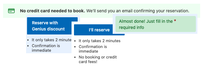 """Four notifications from booking.com highlighting the easiness of the reservation with the OTA, messages with """"it only takes 2 minutes"""" claim"""