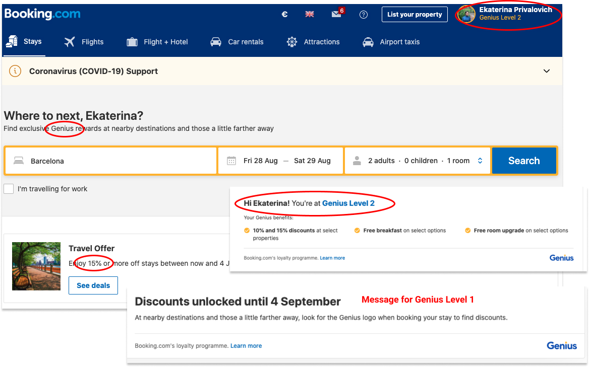Three examples of booking.com highlighting genius offer (added value) to increase platform conversion