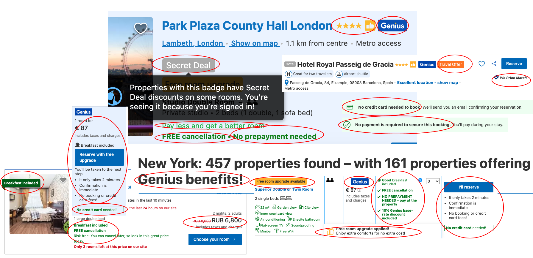 Examples of booking.com highlighting adding value to increase platform hotel conversion