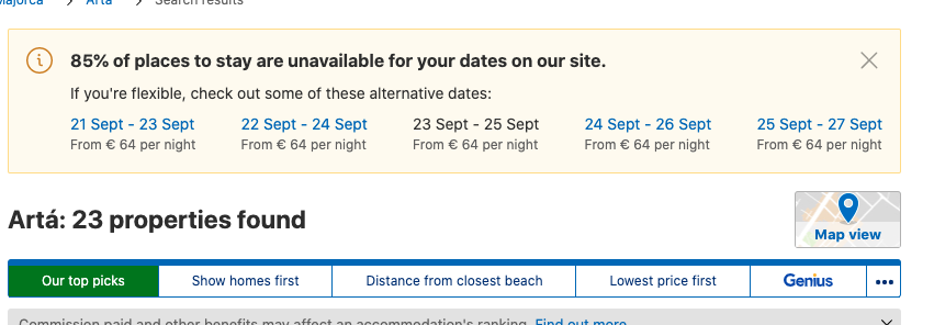 example Booking.com availability
