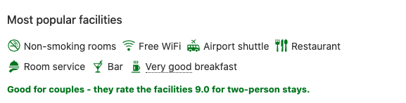 Example of how booking.com uses icons for hotel rooms description, visual representation of room facilities