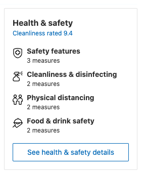 Example of a banner on booking.com page with information about anti-COVID-19 measures that hotels implemented and cleanliness rating. Booking.com plays on negative emotion (fear) to increase hotel conversion
