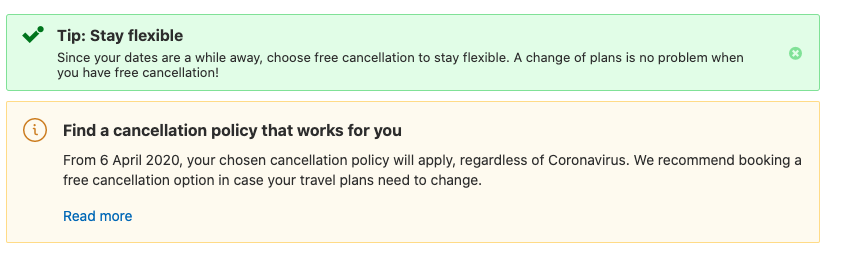Example of banners on booking.com page with flexible cancelation policy due to COVID-19 situation. Booking.com plays on negative emotion (worries) and try to calm down the guest with extra security to increase hotel conversion