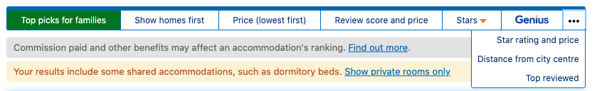 Example of how booking.com filters hotels in the initial guest hotel search, highlighting booking.com choice (top picks) and hiding top reviewed filter