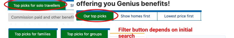 Example of booking.com filters customized depending on guest initial hotel search and adapts filters' buttons