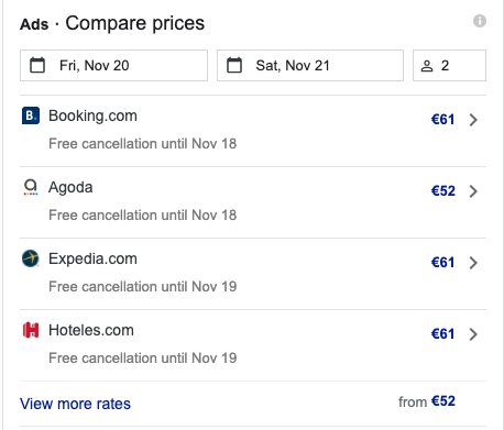 Examples of Google Hotel Ads - price comparison in action with OTAs rating and prices
