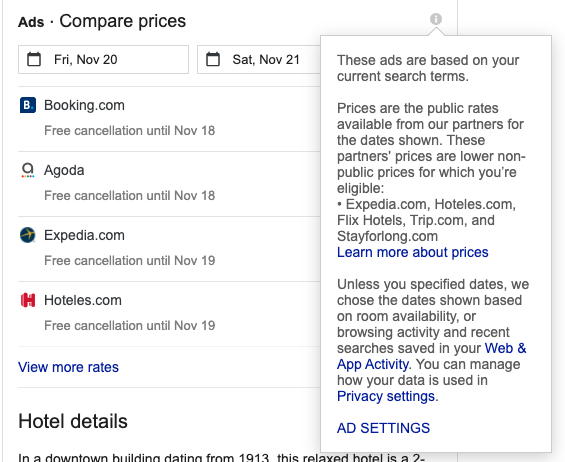 Explanation from Google Hotel Ads, prices are taken from OTAs and compared for guests convenience