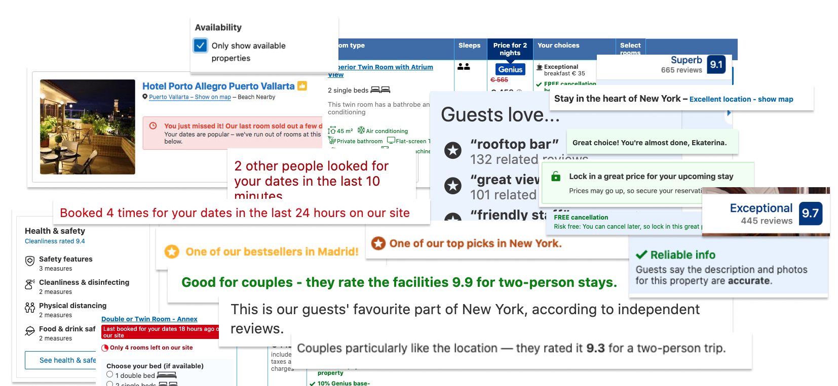 Examples of badges. messages, page elements - booking.com conversion optimization techniques to improve reservation rate
